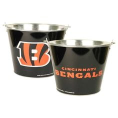 Cincinnati Bengals Beer Ice Bucket Party Bar Drink Holder NFL Tailgate Tin