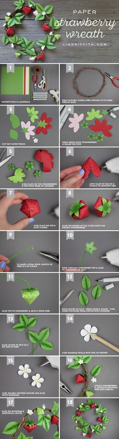Follow our step-by-step instructions and photo tutorial to make your own paper strawberry wreath. A sweet way to celebrate the summer season!
