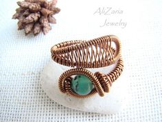Wire Wrapped Ring Adjustable Ring Agate Stone por AliZariaJewelry