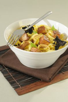 Tagliatelle with Diced Foie Gras and Wild Mushrooms. Wild Mushrooms, Stuffed Mushrooms, Serving Bowls, Macaroni And Cheese, Pasta, Tableware, Ethnic Recipes, Kitchen, Food