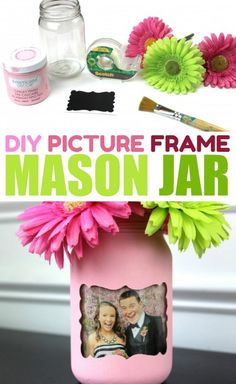 If you love mason jar crafts, you're going to love this super fun DIY Picture Frame Mason Jar that is also a vase. I love how versatile mason jars are and how the project can display a picture and flowers at the same time! It would make a great gift. #diy #crafts #teencrafts #projects #diycrafts #diyprojects #fundiys #funprojects #diyideas #craftprojects #diyprojectidea #teencraftidea Uses For Mason Jars, Mason Jar Gifts, Mason Jar Diy, Diy Crafts With Mason Jars, Diy For Teens, Crafts For Teens, Diy Crafts To Sell, Perler Beads, Mason Jar Picture