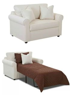 Ten sleeper chairs that turn any space into a guest room in a snap - Living in a shoebox Murphy Bed Ikea, Murphy Bed Plans, Sofa Bed For Small Spaces, Fold Out Beds, Blue Accent Chairs, Pull Out Bed, Guest Room Office, Guest Bed, Spare Room