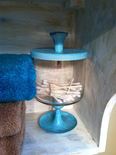 Q-tip holder using bath and body candle jar , candle stick and knob