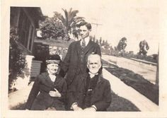 Black and White Vintage Snapshot Photograph Family Elderly Yard Suit 1920's
