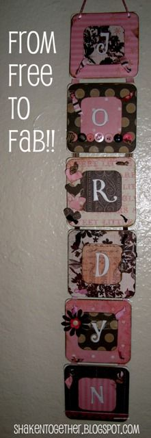 {create this} baby shower name gift from restaurant coasters --- either make as a gift, or use as decoration for a baby shower then take home for baby's room!