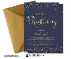 BOY BAPTISM INVITATION Navy & Gold Glitter by digibuddhaPaperie