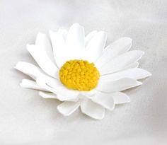 Daisy pin or hair clip from Flower Sculptures by artist, Kathleen Horner. www.flowersculptures.com