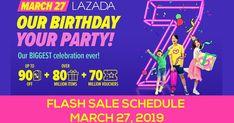 Lazada's 7th Birthday Flash Sale Schedule - March 27, 2019 7th Birthday, Schedule, Timeline