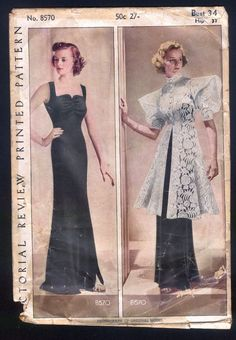 Pictoral Review 8570 Ladies' Evening Gown With Stunning Coat 1930 Size Bust 34 Hip 37 Env age distressed MISSING THE DETAILED SEWING INSTRUCTIONS complete sld 125+4 5bds 4/28/15