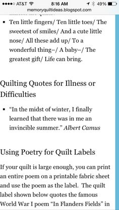 Image detail for -memory_quilt_poem.gif | Quilt Labels | Pinterest ... : baby quilt poem - Adamdwight.com