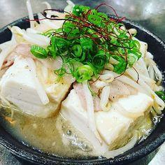あったか豆腐ステーキ  梅風味でさっぱり美味しい❗  #笑家#豆腐ステーキ#鉄板#熱々#ふぅふぅ#梅風味