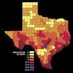As of January 2012, every Texas county contains between one and 26 species that may be affected by new actions under the Endangered Species Act. This map was created by the Comptrollers office to provide a broad, county-level overview of the potential range of species currently under review for possible listing; species under review for changes to listing status or critical habitat designation; and more