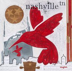 """Nashville """"Guitar Wings"""" Red Hummingbird. $58.00, via Etsy."""