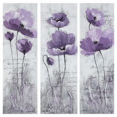 Showcasing a purple poppy motif and script accent, this eye-catching canvas painting brings garden-chic style to your entryway or master suite.