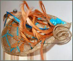 Tocado dorado turquesa Gol, turquoise fascinator pilicose.blogspot.com.es