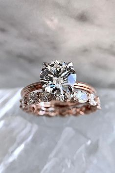 rose gold wedding rings round cut solitaire diamond set classic