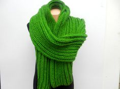 GREEN SCARF  Knit men dark green scarf   Hand Knitted by MioLauma, $50.00