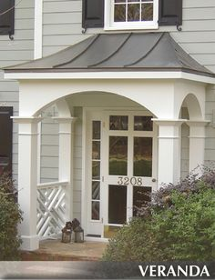 We have created beautiful porches for our customers in Atlanta, Georgia. These are the most popular front porch styles among our customers. Front Porch Remodel, House Front Porch, Front Porch Design, Front Porches, Porch Roof Designs, Portico Entry, Front Entry, Front Stoop, Front Door Overhang