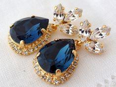 Navy blue earringsChandelier earringsNavy blue bridal