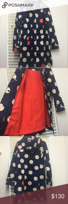 Boden Rain Coat Boden Rainyday Mac - Size 6 - like new condition. No damage or stains - body and hood lined in fleece for extra warmth - zipper and bottom closure Boden Jackets & Coats