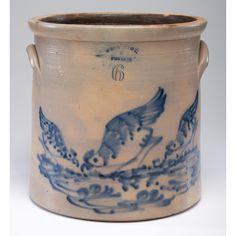 Antique Crocks, Antique Stoneware, Stoneware Crocks, Pecking Bird, Troy New York, Red Wing Pottery, Glazes For Pottery, Glazed Pottery, Pottery Making