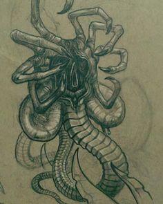 Alien Facehugger by David Ekstrom Predator Movie, Alien Vs Predator, Arte Alien, Alien Art, Giger Art, Hr Giger, Giger Alien, Alien Drawings, Alien Tattoo