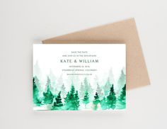 Rustic Mountain Save The Date, Botanical Watercolor, Bridal Shower, Wedding Invitation