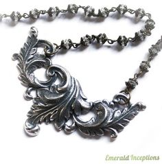 Antique Silver Twine Leaves Necklace
