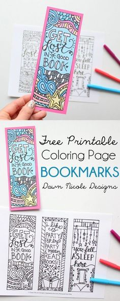 Free Printable Coloring Page Bookmarks   bydawnnicole.com