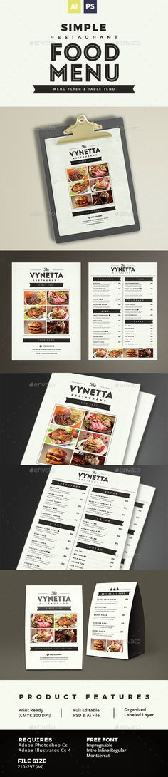 Buy Simple Restaurant Food Menu by vynetta on GraphicRiver. Simple Restaurant Food Menu FEATURES Menu Size Table Tend Size Well Organized Layer Print R. Food Menu Template, Restaurant Menu Template, Restaurant Menu Design, Restaurant Branding, Restaurant Recipes, Menu Templates, Print Templates, Corporate Branding, Mexican Menu