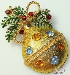 Christmas Brooch, Ornament & Holly Pin ALSO SEE Wonderful Christmas Tree Pins: http://myclassicjewelry.com/Books.htm