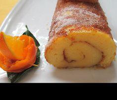 RECETAS DE MACUMANI : BRAZO DE NARANJA ( Torta portuguesa ) Portuguese Desserts, Portuguese Recipes, Portugese Custard Tarts, Bakery Recipes, Dessert Recipes, Cake & Co, Almond Cakes, Pastry Cake, Cakes And More