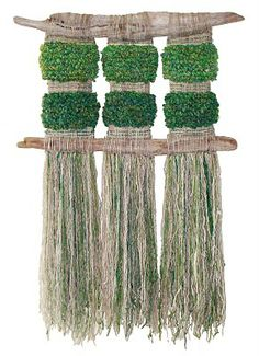 Verde que quiero verde by Marianne Werkmeister. Unfortunately, I don't know which materials were used, but I love the natural materials that she used and the colours. Weaving Textiles, Weaving Art, Tapestry Weaving, Loom Weaving, Hand Weaving, Creative Textiles, Textile Fiber Art, Weaving Projects, Tear