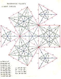 1960s Buckminster Fullers pure genius on display using Science and geometry 25 great circles Graphic Diagram Print