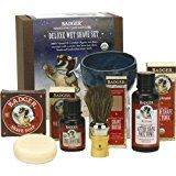 Badger Deluxe Wet Shave Set  Includes Pre-Shave Oil Shave Soap Pottery Shave Bowl Horse Hair Shave Brush After Shave Face Tonic