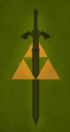 Legend of Zelda Triforce and Master Sword Print