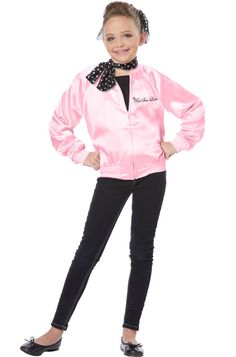 Grease The Pink Satin Ladies Child Halloween Costume | eBay
