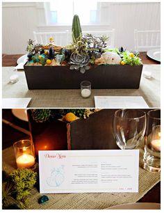 Desert planter & dinner menu