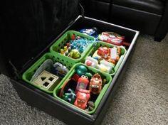 organize toy box with small plastic bins