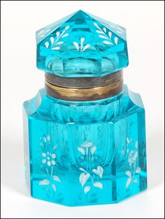Antique Blue Cut Glass Inkwell with Floral Enameling.