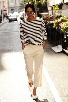 Le Fashion Blog Parisian Style Low Bun Mirrored Round Sunglasses Striped Long Sleeve Shirt Cropped Cream Pants White Pointed Celine Flats Via Gary Pepper (scheduled via http://www.tailwindapp.com?utm_source=pinterest&utm_medium=twpin&utm_content=post200520409&utm_campaign=scheduler_attribution)