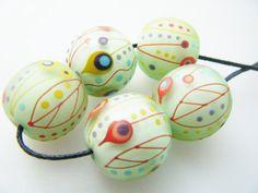 Moogin Beads set of 5 pale mint retro pattern by mooginmindy, £40.00