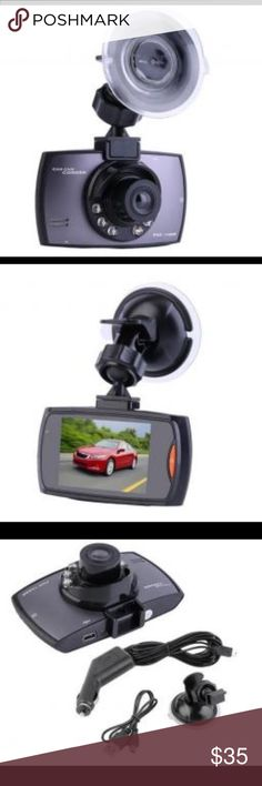 Car camera .  G-sensor Built-in(car accident case of emergency save, will not be  deleted)  LCD screen size 2.4 LTDS  Camera 120 A+ grade high-resolution ultra-wide-angle lens  Image monitoring real-time output.  Motion detection function.  Support TF memory card, up to 32GB. Screen size: 2.4 LTPS  Viewing angle: 120 degrees  Maximum external card support:TF 32G (not included resolution: 720P  Box included  1 x 1080P/720P Car DVR Camera  1 x Car Charger  1 x USB Cable  1 x Bracket  1 x User…