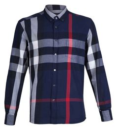 Burberry Brit Navy Exploded Check Shirt Men  #BurberryBrit #ButtonFront