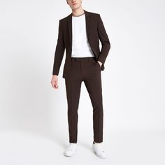 Shop our new Brown skinny fit suit trousers at River Island today. New Mens Suits, Grey Suit Men, Fashion Sale, High Fashion, Mens Fashion, Trouser Suits, Suit Pants, Skinny Fit Suits, Professional Wardrobe
