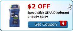 $2.00 off Speed Stick GEAR Deodorant or Body Spray