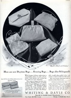 """Whiting & Davis """"Bags After Schiaparelli"""" 1930s Ad in Vogue Magazine"""