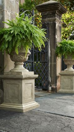 Shop Frontgate's collection of outdoor planters and garden urns to dress up your garden, terrace or entryway. These planters and terrariums make the perfect patio decor. Garden Urns, Garden Gates, Garden Planters, Outdoor Planters, Garden Entrance, Stone Planters, Potted Garden, Outdoor Stools, House Entrance