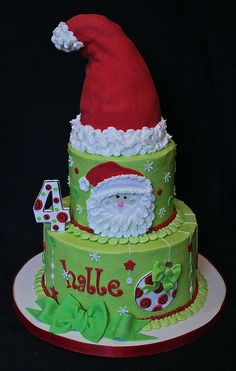 Santa Birthday by thecakespot, via Flickr -  really like the piped borders and santa's  beard!