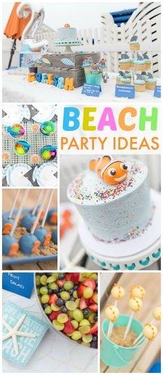 "What a fun beach party with touches of ""Finding Nemo"" added in! See more party ideas at CatchMyParty.com!"
